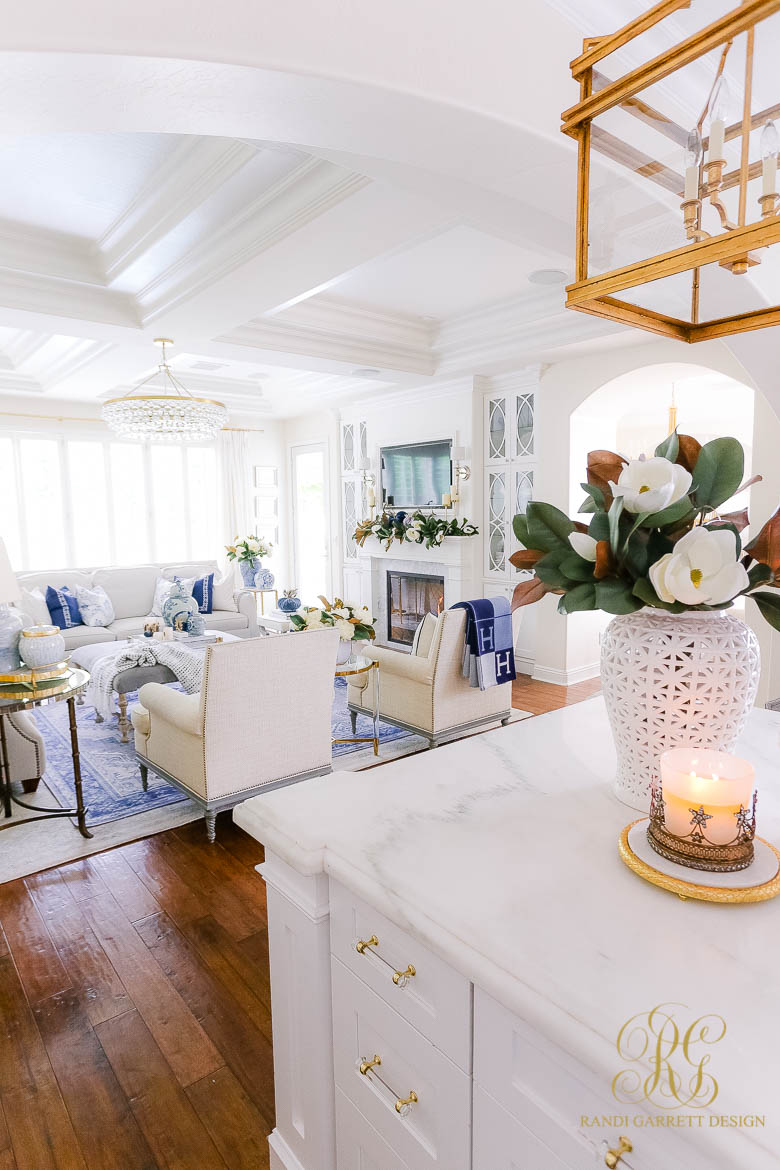 Blue and White Family Room Fall Home Tour