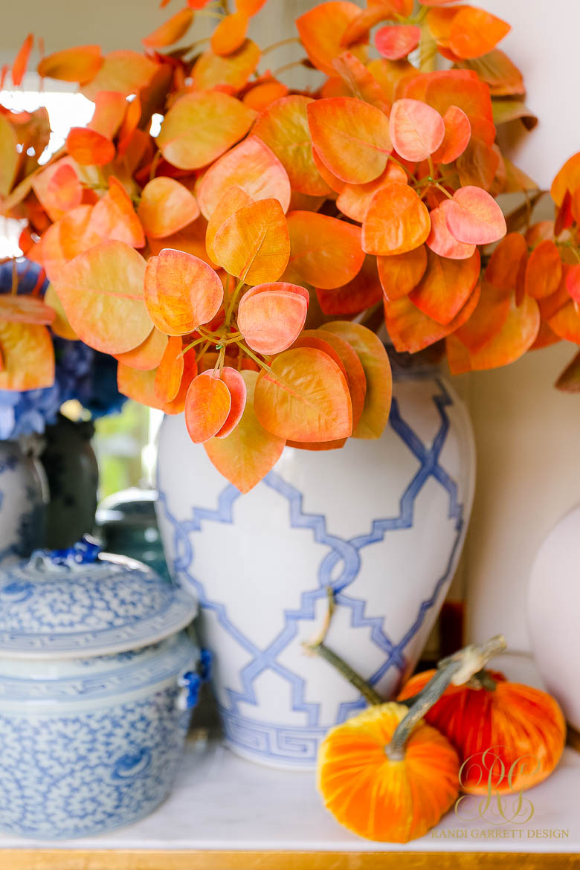 fall leaves ginger jar