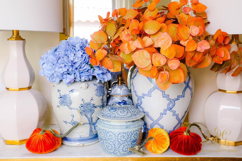 ginger jars fall leaves