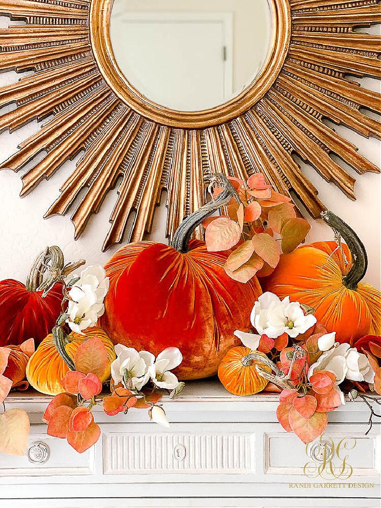 fall decor ideas orange velvet pumpkins magnolia fall leaves