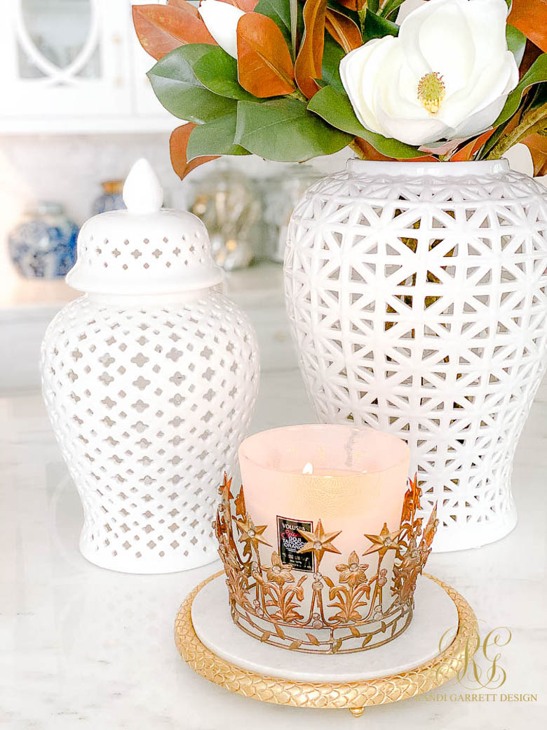 white ginger jars fall decor candle with crown