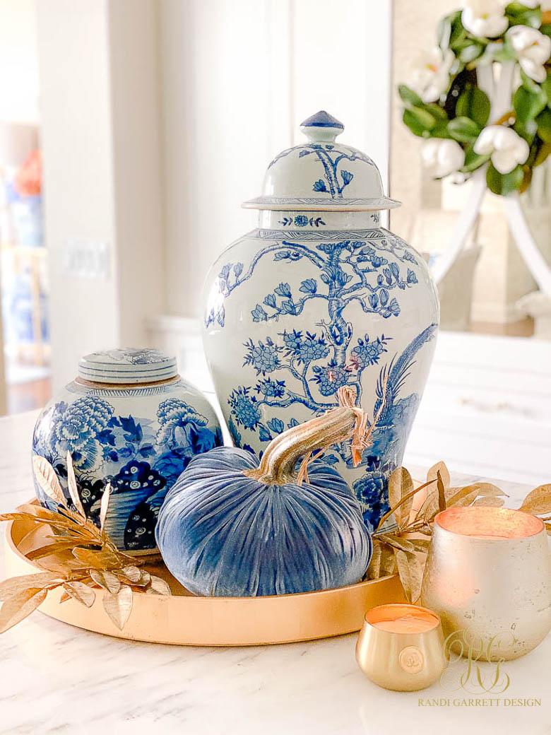 ginger jars blue pumpkins fall decor