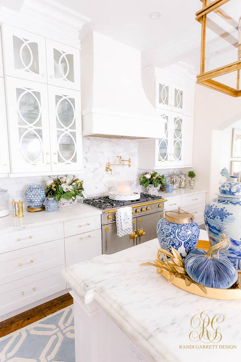 Blue and White Fall Kitchen Tour white gorgeous kitchen