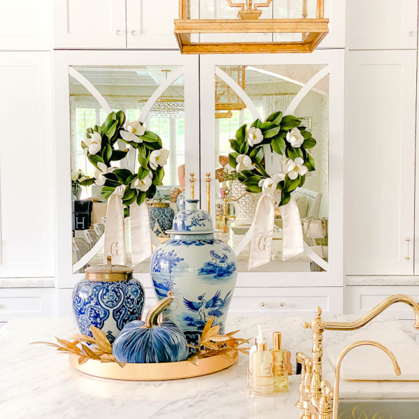 Blue and White Fall Kitchen Tour