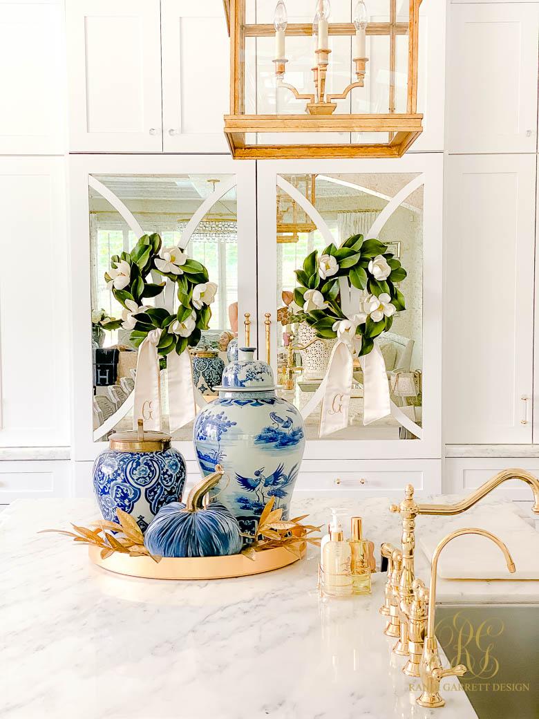 Blue and White Fall Kitchen Tour