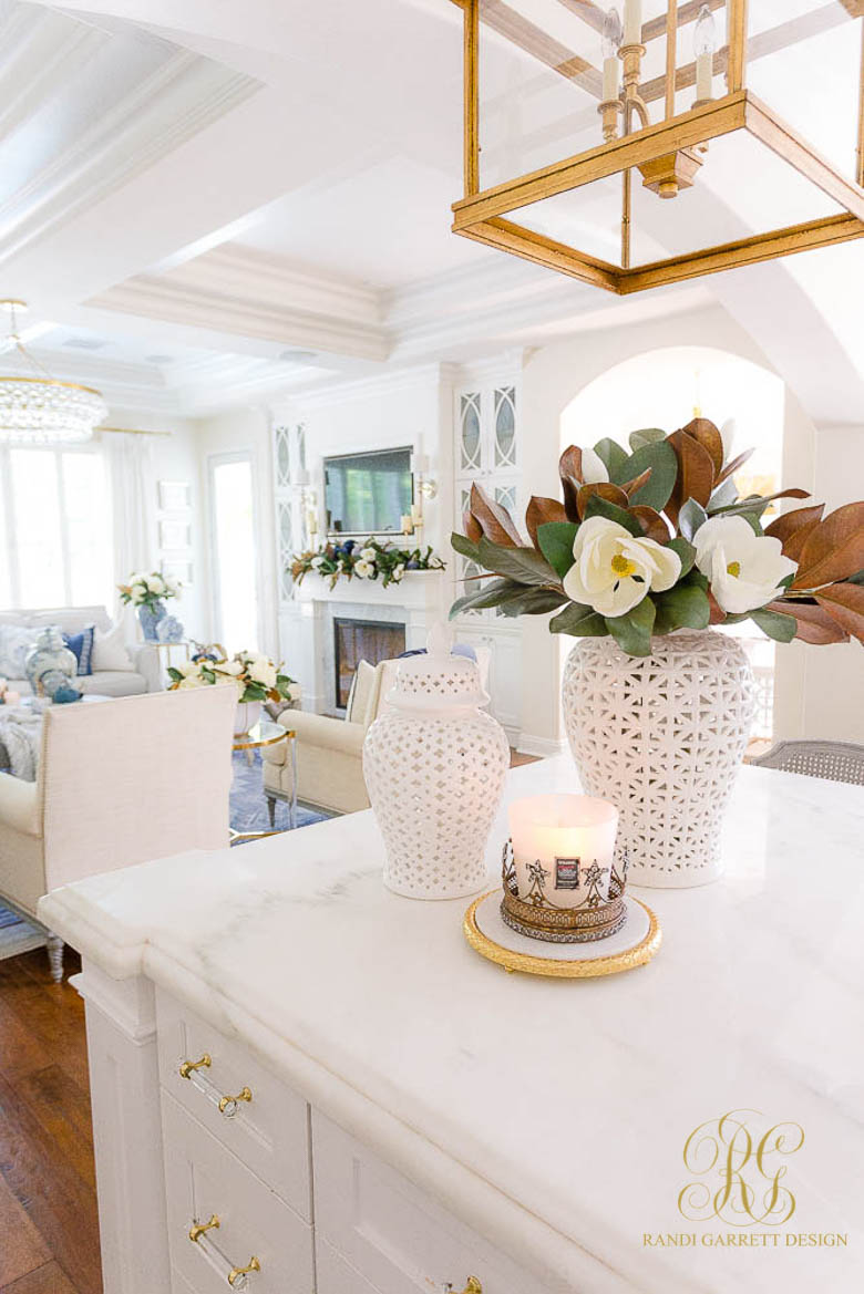 white ginger jars faux magnolia fall decor