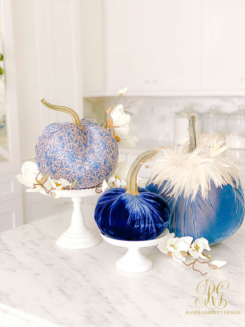 blue pumpkins fall decor
