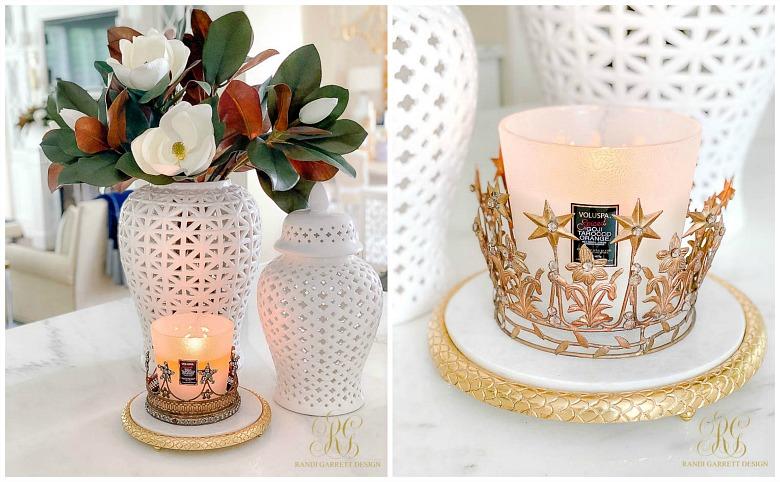 white gold fall decor white ginger jar magnolias