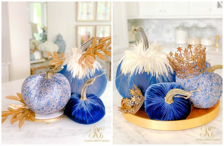 blue velvet pumpkins crowns fall decor