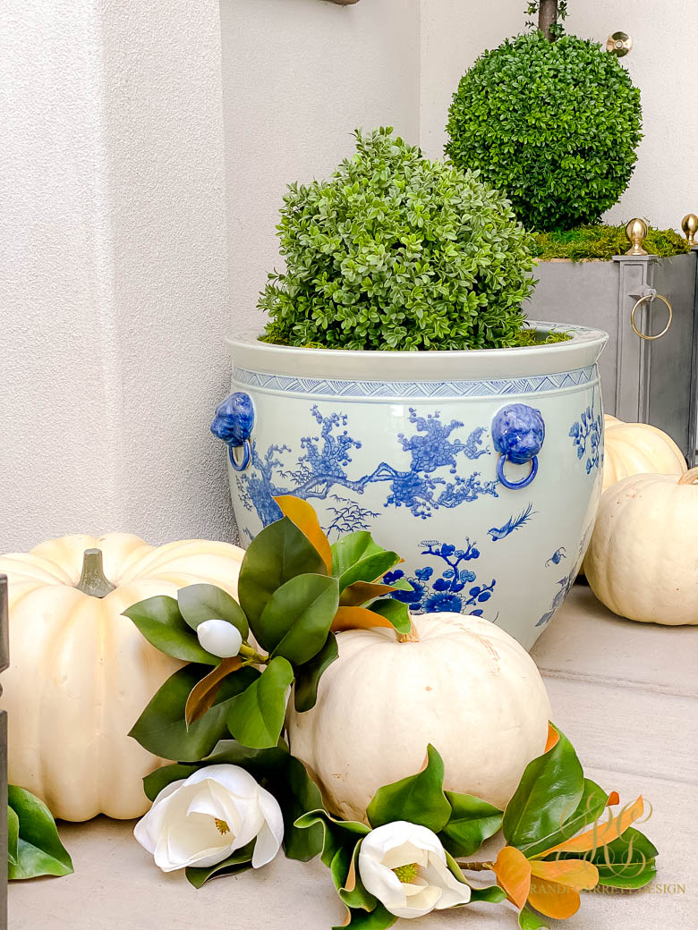 Blue and White Fall Porch