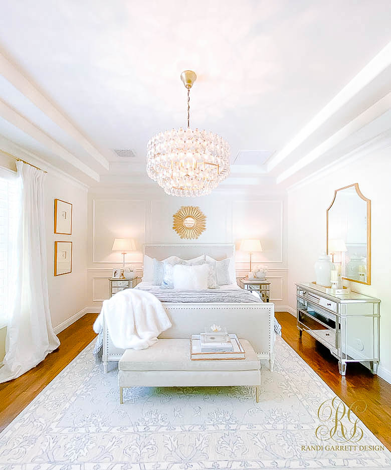 Glam Bedroom Mini Makeover tray ceilings crown molding picture frame molding