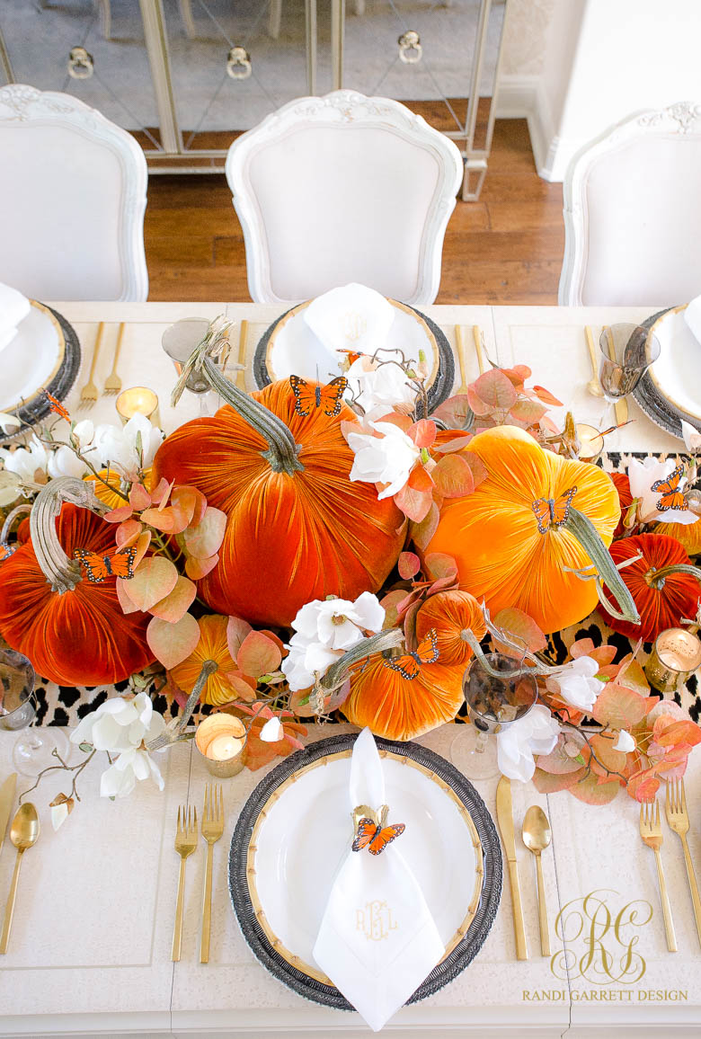Orange Butterfly Fall Table - elegant halloween table