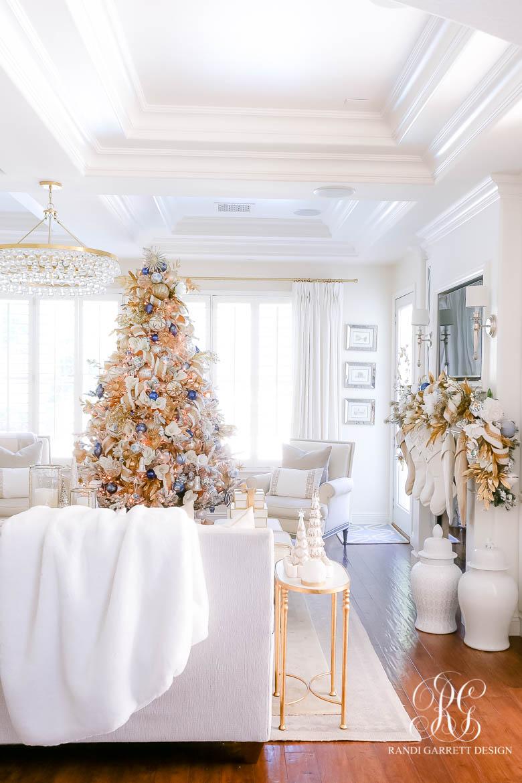 white flocked christmas tree elegant Christmas decor