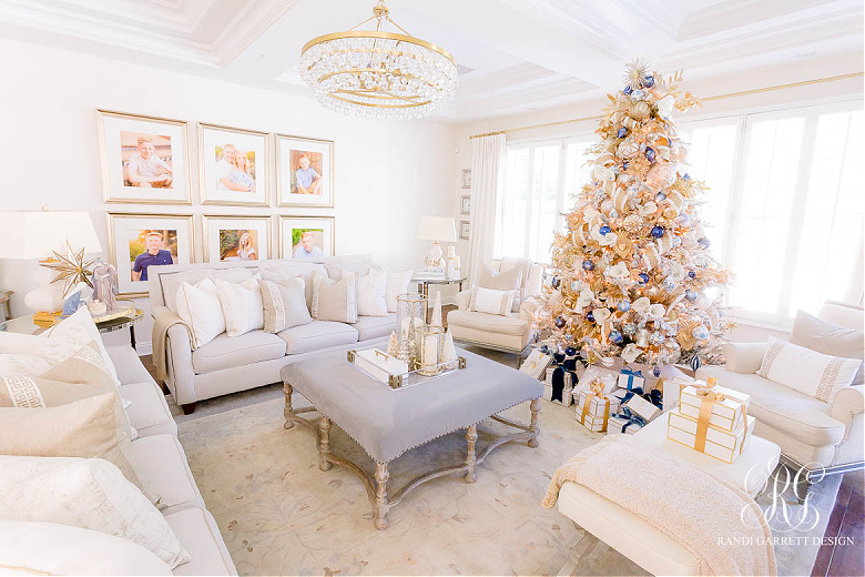 Blue White and Gold Christmas Home Tour