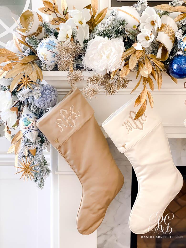 designer stockings Christmas mantel