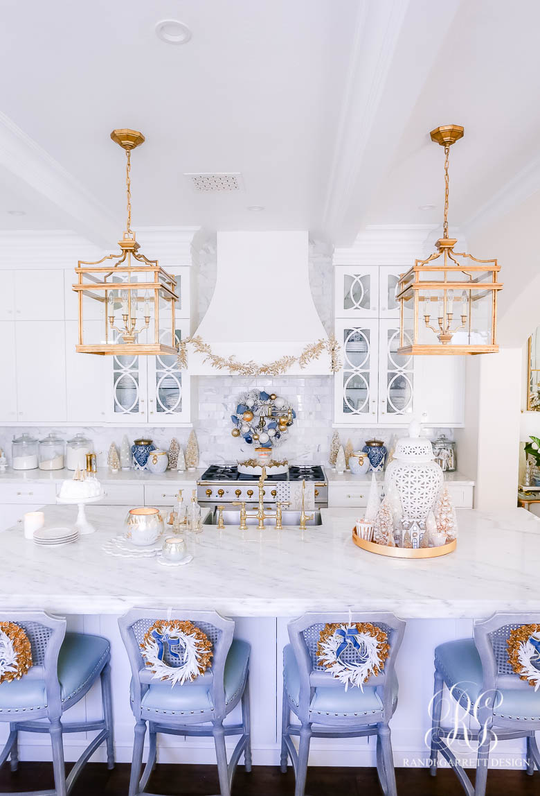 Blue White and Gold Christmas Home Tour Christmas kitchen