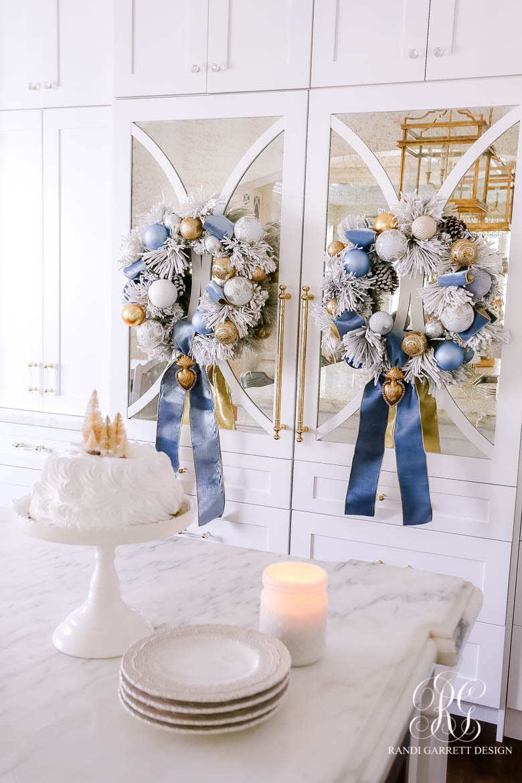 blue gold Christmas wreaths