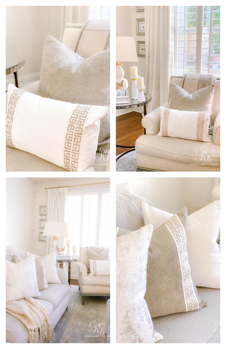 white gold throw pillows