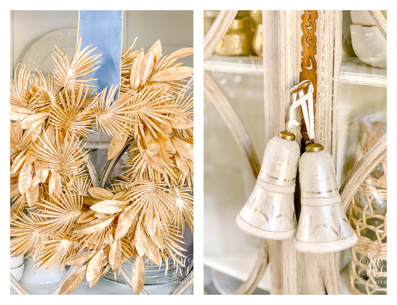 gold palm wreath - silver bells