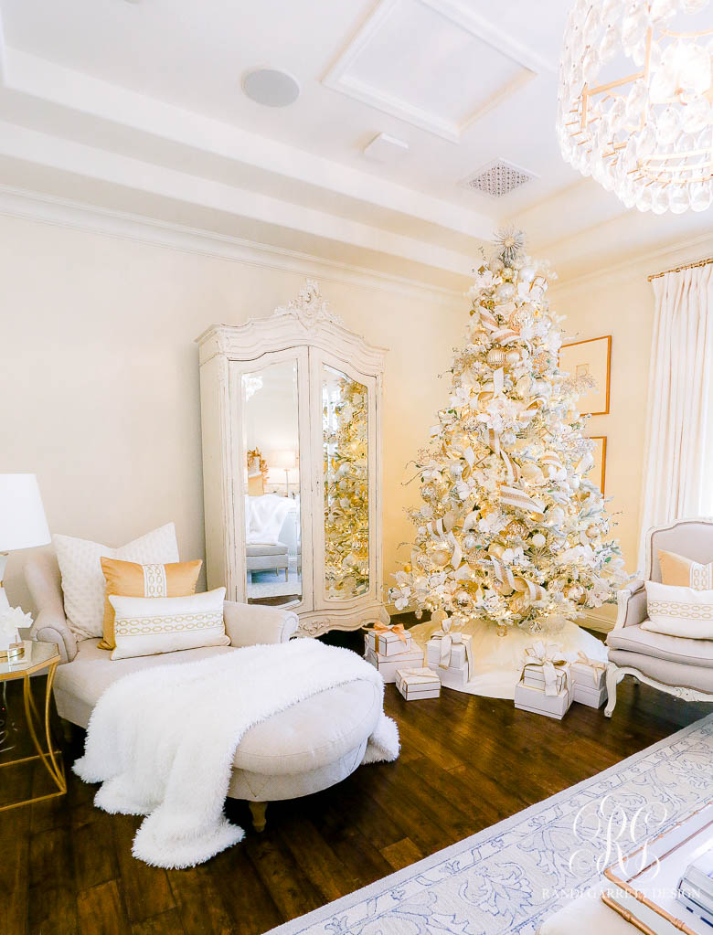 White + Gold Glam Christmas Bedroom