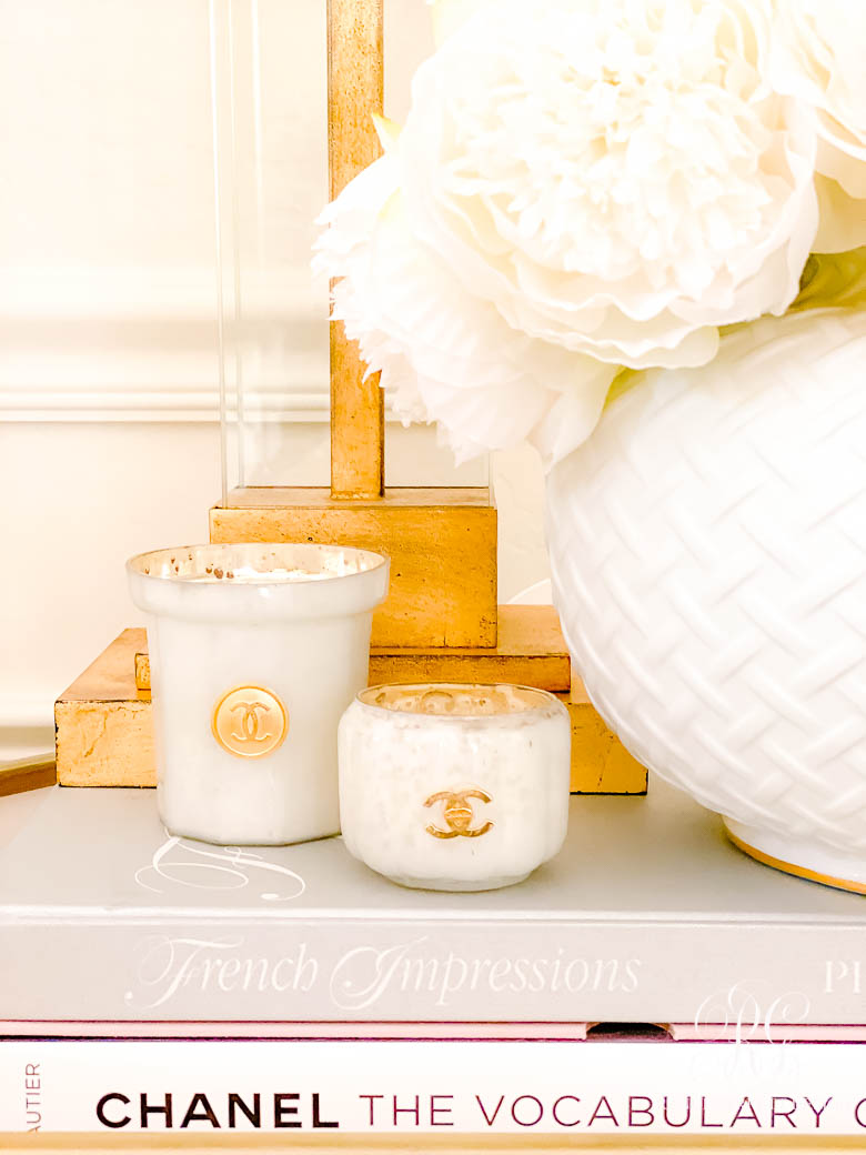 White + Gold Glam Christmas Bedroom - Chanel Candles