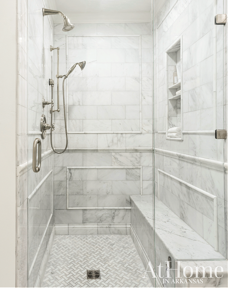 shower with marble wainscoting