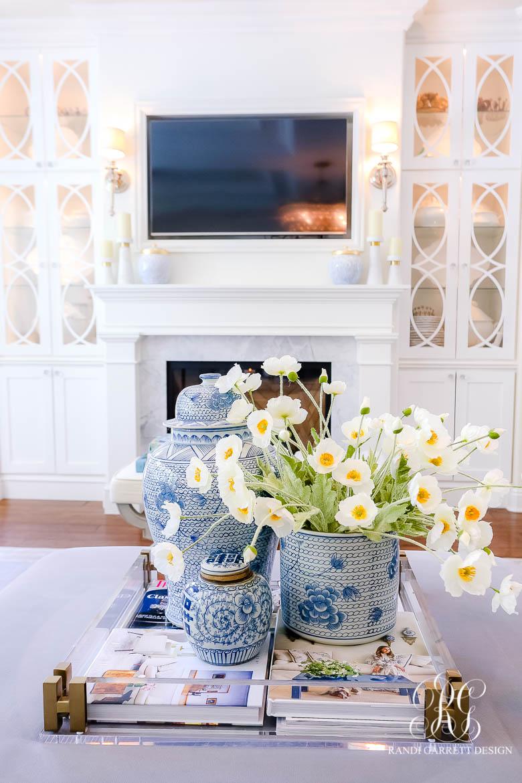 blue and white ginger jar summer decor