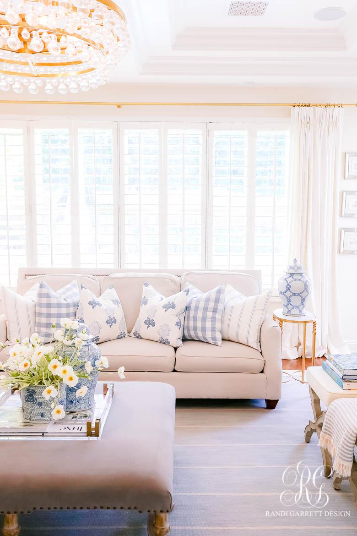 blue and white summer throw pillows