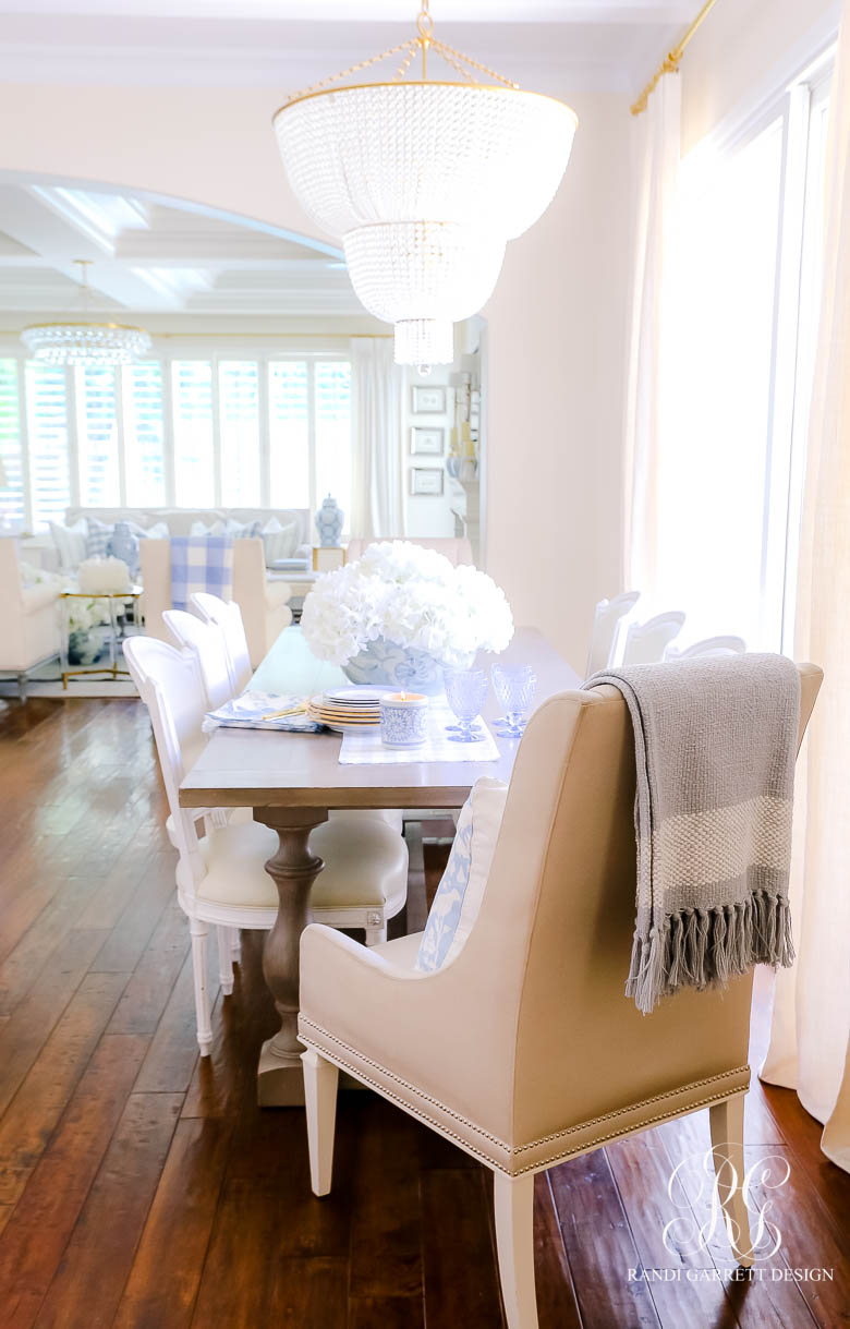 blue and white dining table