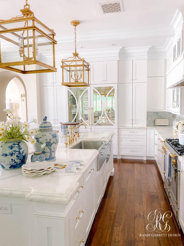 White kitchen gold pendant lights