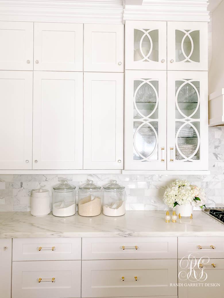 white kitchen cabinets mullion
